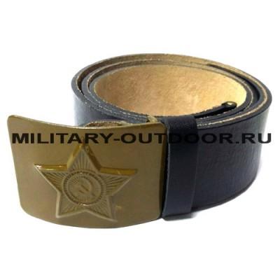 Ремень солдатский кожаный оливковая бляха Чёрный