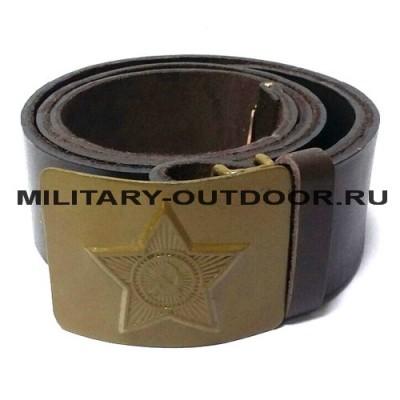 Ремень солдатский кожаный оливковая бляха Коричневый