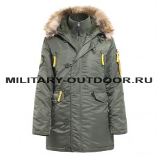 Apolloget Husky Woman`s Parka Sage Green/Yellow