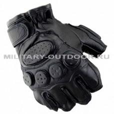 Перчатки без пальцев кожаные Чёрные