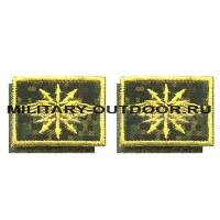 Патчи петличные Войска связи цифра/жёлтый