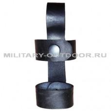 Крепление для дубинки 2 кольца кожаное Чёрный
